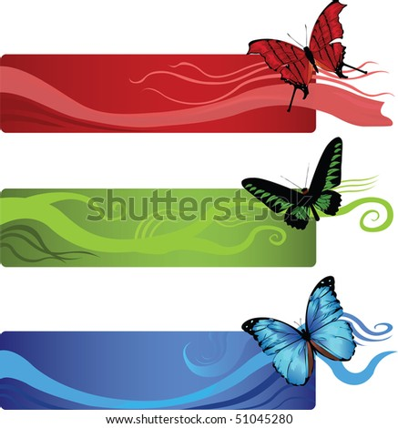set of three banners with abstract lines and butterflies in a corner - stock vector