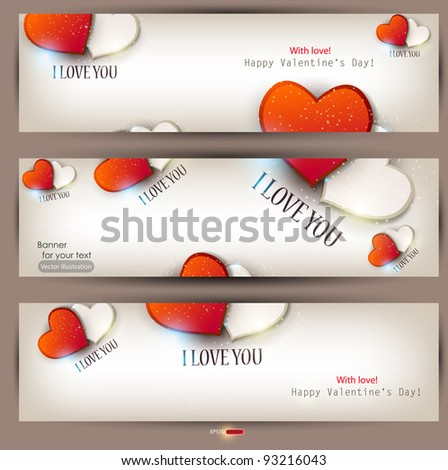 Set of three banners with hearts. Valentine's Day. Vector background - stock vector