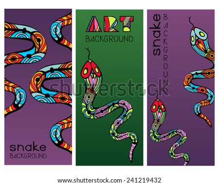 Set of three banners with patterned colorful snakes, drawn in Art Nouveau style. Collection of vertical art backgrounds for special design. Vector file is EPS8. - stock vector