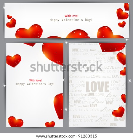 Set of three banners with red hearts. Valentine's Day. Vector background - stock vector