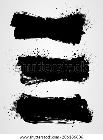 Set of three black grunge banners for your design - stock vector