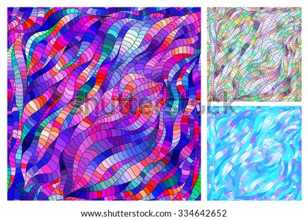 Set of three bright colorful seamless pattern in the style of stained glass Doodle. - stock vector