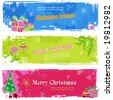 set of three candy-colored horizontal holiday banners - stock vector