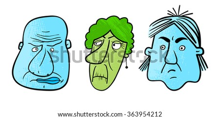 Set of three cartoon faces with an expression of negative emotions. Vector. - stock vector