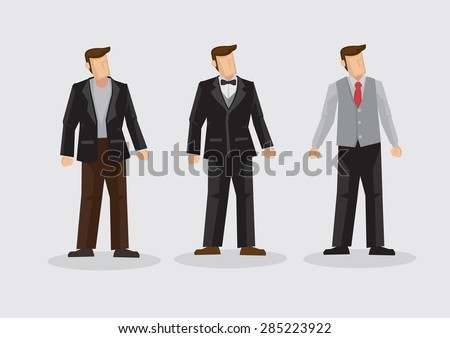 Set of three cartoon man wearing three piece suit formal outfit isolated on plain background. - stock vector