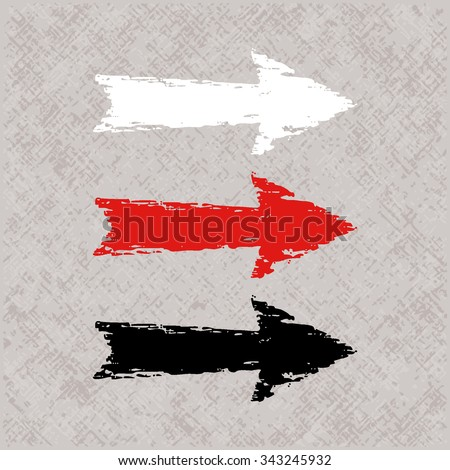 Set of three cartoon styled arrows in different colors on a grunge vintage background. Vector  illustration - stock vector