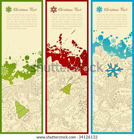 set of three christmas banners with doodles, splats, snoflakes and copyspace for your text - stock vector