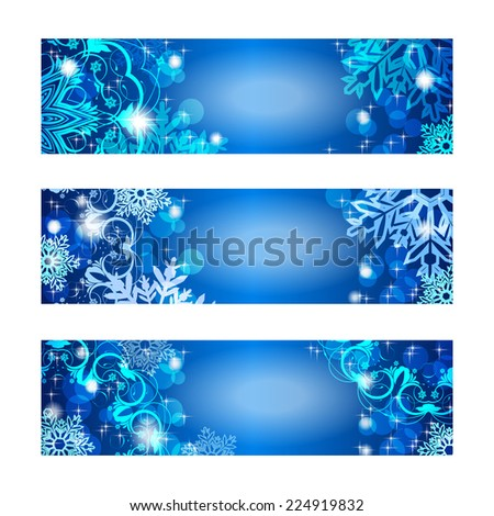 Set of three Christmas banners. With space for text - stock vector