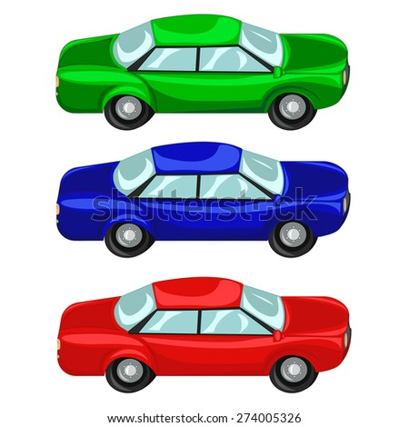 Set of three color cars red green and blue colors. Vector illustration - stock vector