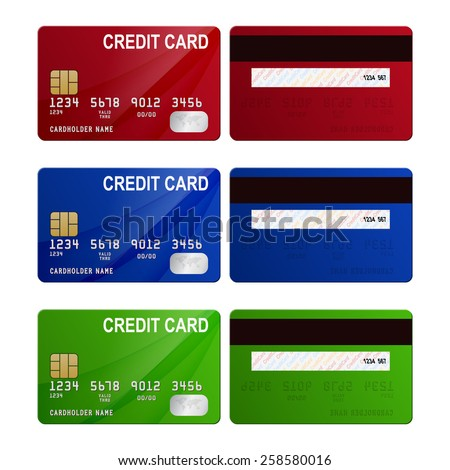 Set of three credit cards - red, blue, green, front and back view. Vector EPS10 illustration.