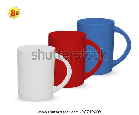Set of three cups. Mesh only design. - stock vector