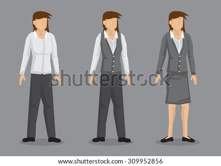 Set of three designs of women workwear. Vector female cartoon character isolated on grey background. - stock vector