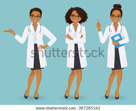 Set of three female doctors in different poses on blue background - stock vector