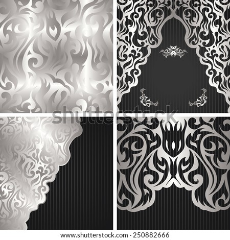 Set of three floral invitations and template of seamless floral wallpaper. Seamless background in a silver. Floral decoration in a silver. Striped background         - stock vector