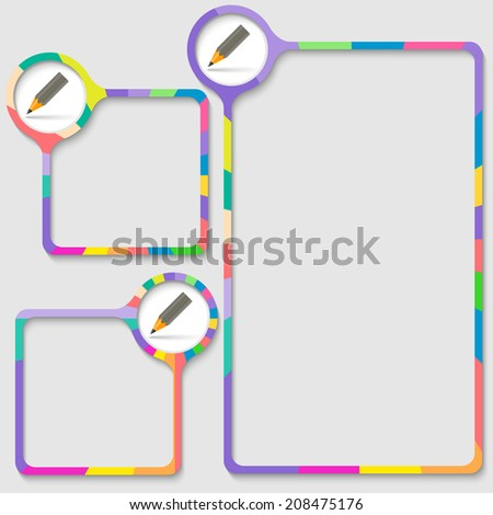 set of three frames for entering text with pencil - stock vector