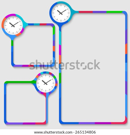set of three frames for your text and watches - stock vector