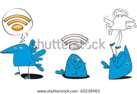 Set Three Funny Bluebirds Web Symbol Stock Vector 60238483