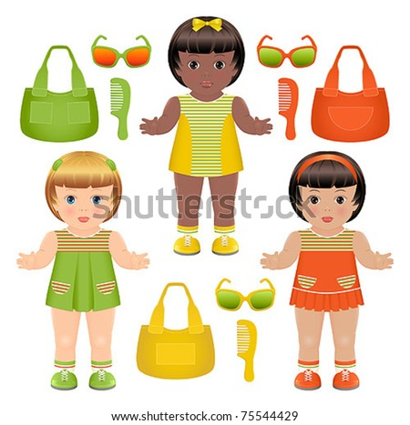 Set of three girls dolls with different bags, hairbrushes and sunglasses - stock vector