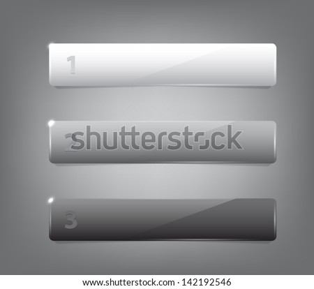 Set of three glossy plastic banners with shiny lights for infographics, business design, step presentation, progress design, number options or workflow layout. Clean and modern style - stock vector