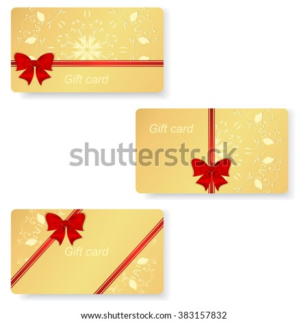 Set of three gold VIP gift cards with red ribbons and bows. Vector
