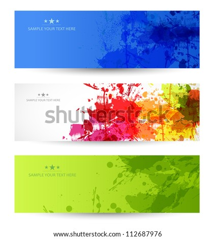 set of three grunge banners with splatters, easy editable - stock vector