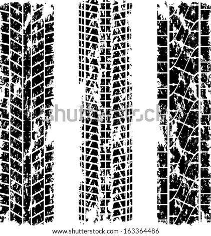 Set of three grunge tire tracks silhouettes. eps10