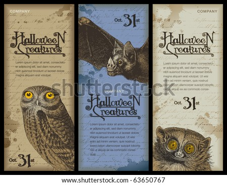 set of three halloween banners with different night animals - stock vector