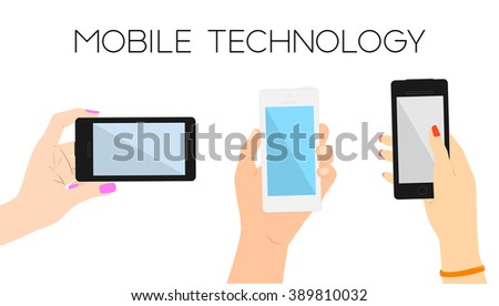 Set of three hands with phones.Man and woman hands touching screen and searching web.Copy space.Minimal flat vector illustration for print or web.Concept for online shopping, studying.Apply online - stock vector
