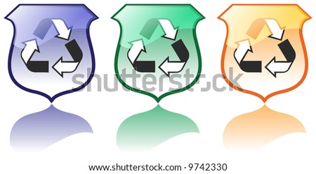 Set of Three High Quality Recycling Icons Vectors - stock vector