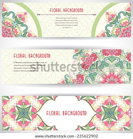 Set of three horizontal banners. Beautiful oriental floral pattern and delicate ornament. Delicate green and pink.Place for your text.  - stock vector
