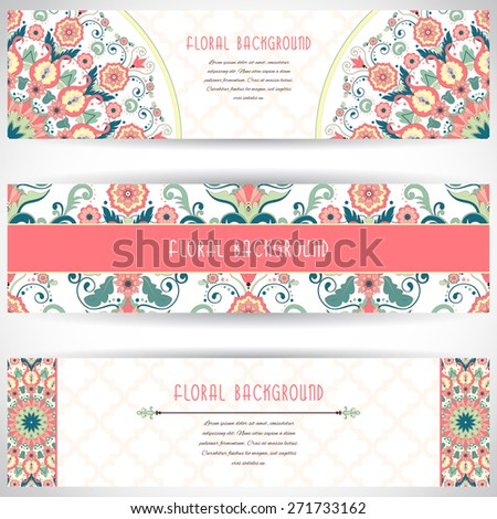 Set of three horizontal banners. Floral vector pattern in modern style. Moroccan tiles ornament. Place for your text. - stock vector
