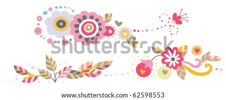 Set of three horizontal ornaments with flowers and leaves. - stock vector