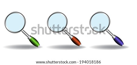 Set of three magnifying glasses isolated on a white background - stock vector