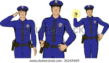 Set of three male police officer illustrations - stock vector