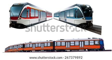 Set of three modern train on white background - stock vector