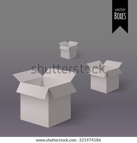 Set of three open white boxes for your design isolated on the light background with gradient - stock vector