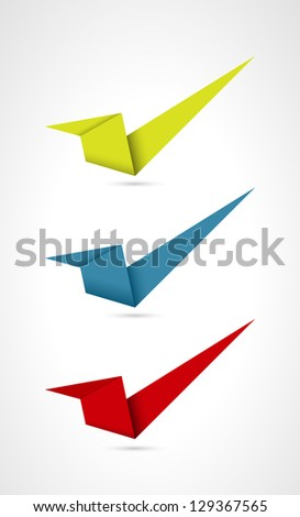 Set of three origami style accept signs / accept sign