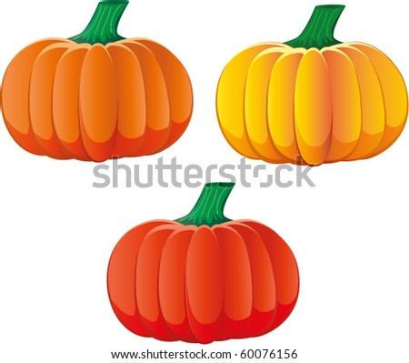 Set of three pumpkins with different colors, vector illustration additional - stock vector