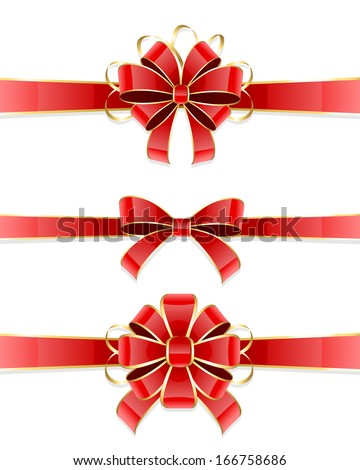 Set of three red bow isolated on white background, illustration. - stock vector