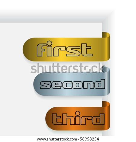 Set of three ribbon, with words: first, second and third - stock vector