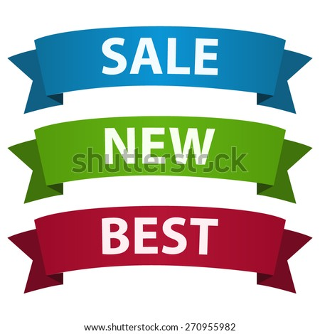 Set of three ribbons with place for your text - stock vector