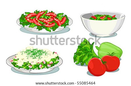 set of three salads and vegetables - stock vector