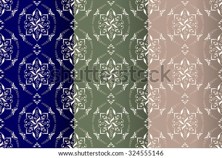 Set of three seamless texture.  Vintage decorative vector seamless texture in Victorian style. Element for design. Ornamental backdrop. Ornate floral decor for wallpaper. Traditional colorful decor. - stock vector