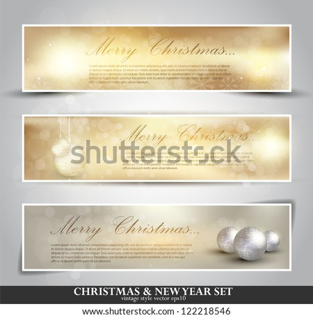 set of three seasonal bokeh banners with snowflakes in gold background (separately grouped). Winter Lights. Elegant Christmas background with snowflakes and place for text. - stock vector