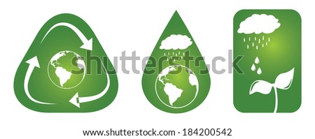 Set of three sustainable concepts. 1.Rain drops falling on planet earth, and the planet placed inside a water drop. 2. Rain drops falling on a little plant. 3. Recycling arrows surrounding the earth. - stock vector