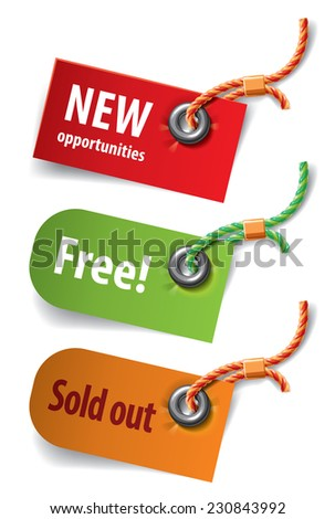 Set of three tags with attached multicolored cords. Vector illustration - stock vector