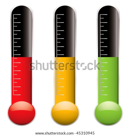 Set of three thermometers with scale and different colored indicator levels - stock vector
