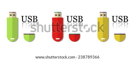 Set of three usb flash drives isolated on a white background - stock vector