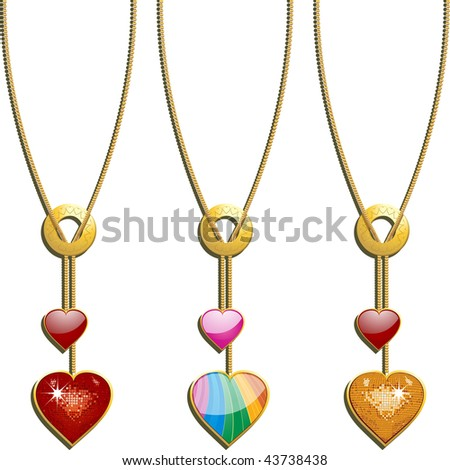 set of three valentine necklaces with sparkling red gold and glossy rainbow hearts