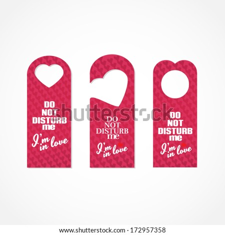 set of three valentines day themed do not disturb door signs - Valentine Signs